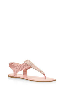 Faux Pearl Studded Thong Sandals - 3110014067860