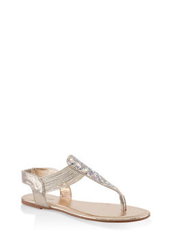 Studded Thong Sandals - GOLD - 3110014067861