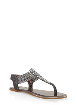 Studded Thong Sandals - PEWTER - 3110014067861