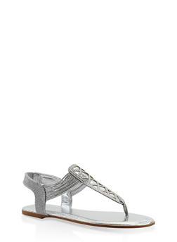 Rhinestone Studded Elastic Strap Thong Sandals - SILVER - 3110014067862