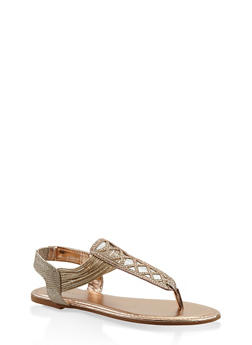 Rhinestone Studded Elastic Strap Thong Sandals - BRONZE - 3110014067862
