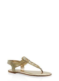 Rhinestone Studded Elastic Strap Thong Sandals - 3110014067862