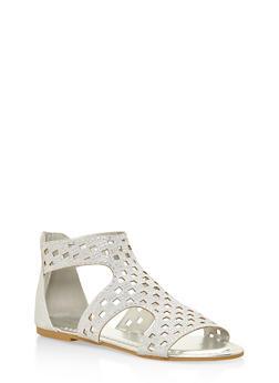 Rhinestone Studded Laser Cut Sandals - SILVER - 3110014068368