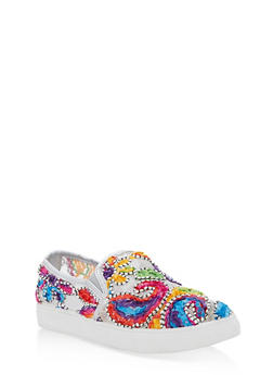 Embroidered Slip On Sneakers - SILVER - 3110029546284