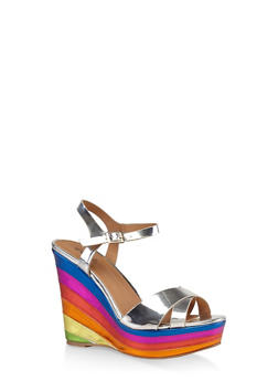 Criss Cross Strap Rainbow Wedge Sandals - SILVER - 3110029912541
