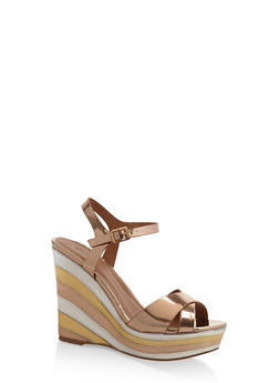 Criss Cross Strap Rainbow Wedge Sandals - BRONZE - 3110029912541