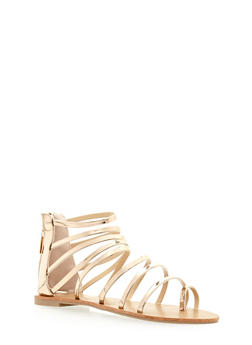 Strappy Metallic Patent Leather Sandals - 3110029912858
