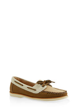Lace Up Boat Shoes - CAMEL - 3110070482636