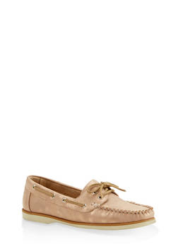 Lace Up Boat Shoes - BRONZE - 3110070482636