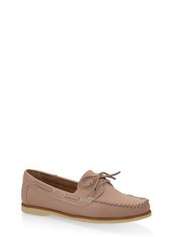 Lace Up Boat Shoes - BLUSH - 3110070482636