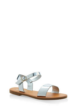 Ankle Strap Sandals - SILVER - 3110074453359