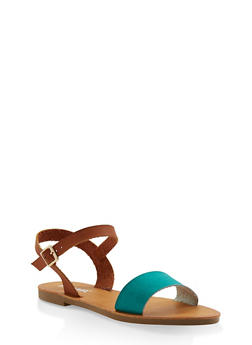Ankle Strap Sandals - TEAL - 3110074453359