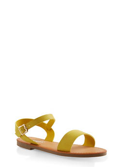 Ankle Strap Sandals - MUSTARD - 3110074453359