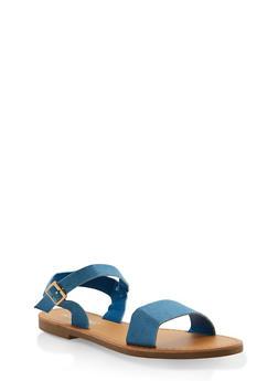 Ankle Strap Sandals - DENIM - 3110074453359