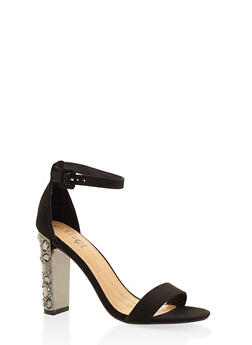 Rhinestone High Heel Sandals - BLACK SUEDE - 3111004062353