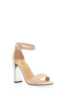 Rhinestone High Heel Sandals - NUDE - 3111004062353
