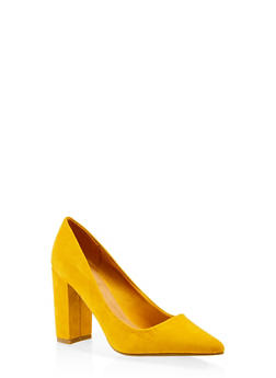 Pointed Toe Block Heel Pumps - 3111004062355
