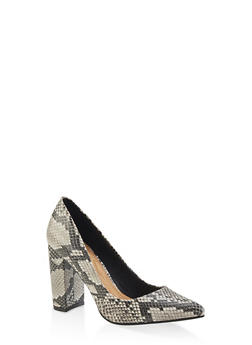 Pointed Toe Block Heel Pumps - BLACK MULTI - 3111004062355