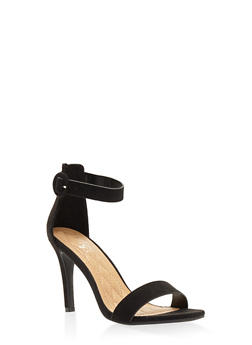 High Heel Ankle Strap Sandals - BLACK SUEDE - 3111004062529