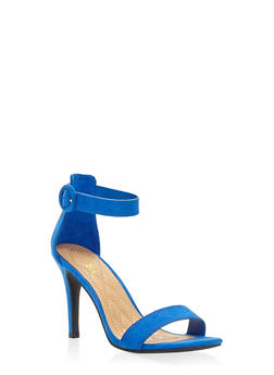 High Heel Ankle Strap Sandals - BLUE - 3111004062529