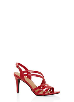 Cross Strap Mid Heel Sandals - RED - 3111004062601