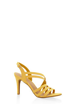Cross Strap Mid Heel Sandals - YELLOW - 3111004062601