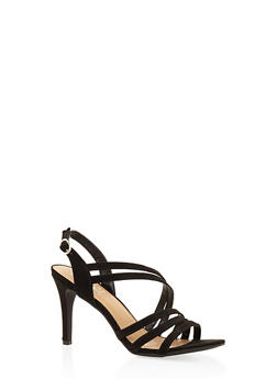 Cross Strap Mid Heel Sandals - BLACK SUEDE - 3111004062601