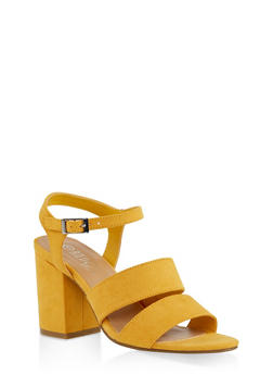 Block Heel Sandals | 3111004062774 - YELLOW - 3111004062774