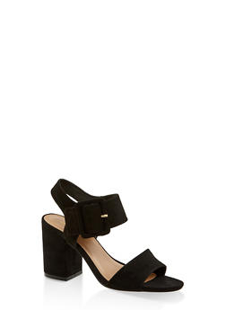 Large Buckle Block Heel Sandals - BLACK SUEDE - 3111004062775