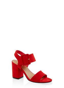 Large Buckle Block Heel Sandals - 3111004062775