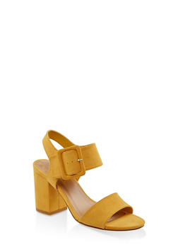 Large Buckle Block Heel Sandals - YELLOW S - 3111004062775