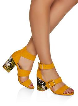 Triple Strap Block Heel Sandals - YELLOW S - 3111004062776