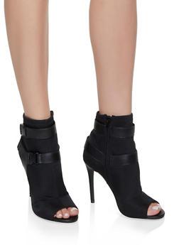Sporty Double Buckle High Heel Booties - BLACK - 3111004063277