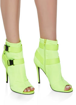 Sporty Double Buckle High Heel Booties - 3111004063277