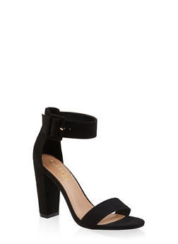 Ankle Strap Buckle High Heel Sandals - BLACK SUEDE - 3111004063736