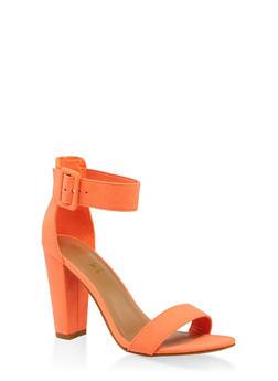 56d4763f86 Buckle Ankle Strap Block Heel Sandals | 3111004063739 - NEON ORANGE -  3111004063739