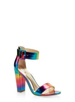 Buckle Ankle Strap Block Heel Sandals | 3111004063739 - MULTI COLOR - 3111004063739