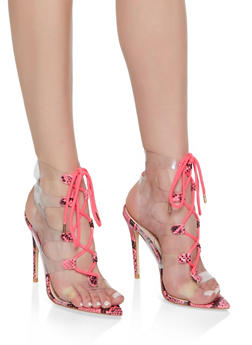 Strappy Printed High Heel Sandals - NEON PINK - 3111004063926