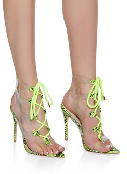 Strappy Printed High Heel Sandals - NEON YELLOW - 3111004063926