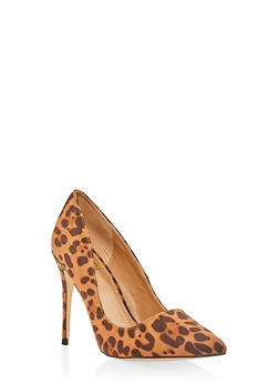 Pointed Toe Stilettos - LEOPARD PRINT - 3111004064426