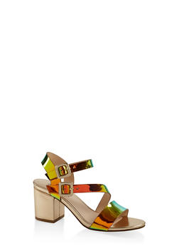 Asymmetrical Strap Block Heel Sandals - GREEN - 3111004064448