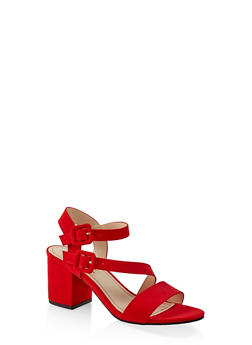 Asymmetrical Strap Block Heel Sandals - RED S - 3111004064448