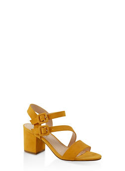 Asymmetrical Strap Block Heel Sandals - YELLOW S - 3111004064448