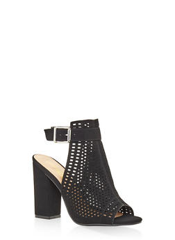 Laser Cut High Heel Sandals - BLACK - 3111004064634