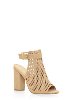 Laser Cut High Heel Sandals - NATURAL - 3111004064634