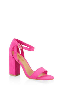 Ankle Strap Chunky High Heel Sandals - NEON PINK - 3111004064637