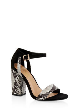 Ankle Strap Chunky High Heel Sandals - WHITE MULTI - 3111004064637