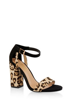 Ankle Strap Chunky High Heel Sandals - LEOPARD PRINT - 3111004064637