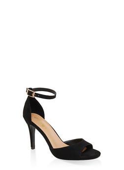 Single Band Ankle Strap High Heel Sandals - BLACK SUEDE - 3111004066266
