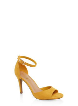 Single Band Ankle Strap High Heel Sandals - YELLOW S - 3111004066266